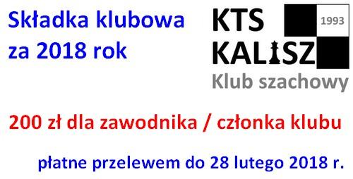 Składki klubowe KTS Kalisz za rok 2018 - należy wpłacać do dnia 28 lutego!