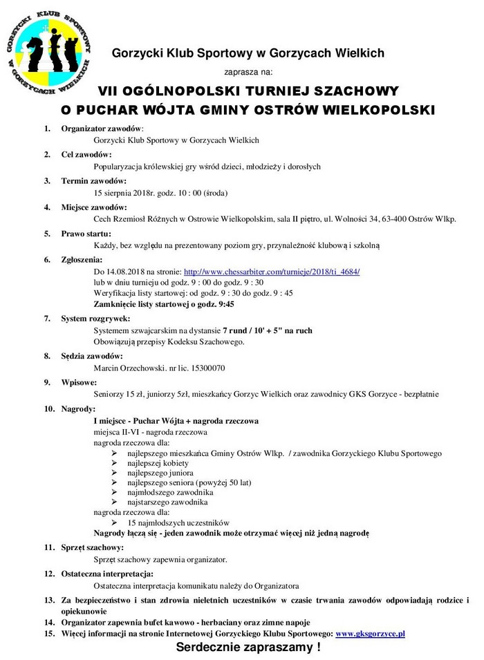 Ostrów Wielkopolski @ VII Ogólnopolski Turniej Szachowy o Puchar Wójta Gminy Ostrów Wielkopolski
