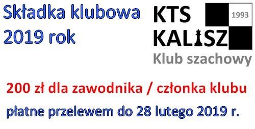 Składki KTS Kalisz 2019 @  płatne do 28 lutego 2019 r.