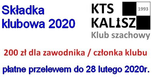 UWAGA! Składki klubowe KTS Kalisz na 2020 rok - płatne do 28 lutego